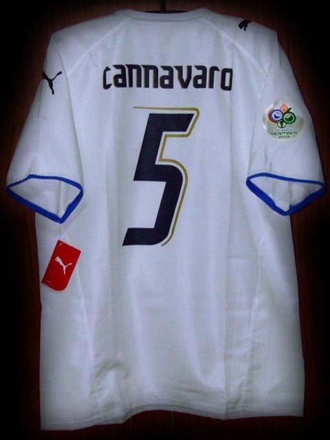 2006 Italy Away Cannavaro 5 Fifa World Cup Final 2006 Patch Soccer Football Shirt Jersey # XL