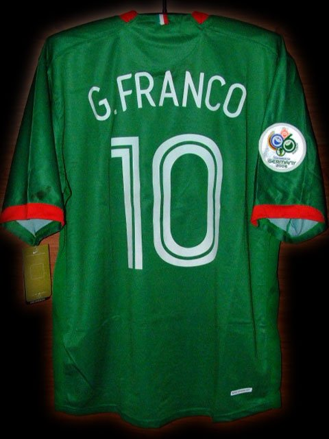 2006 Mexico Home G.Franco 10 Fifa World Cup Final 2006 Patch Soccer Football Shirt Jersey # XL