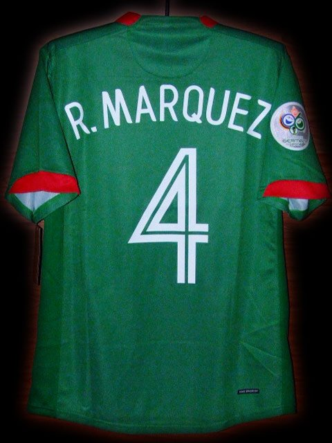 2006 Mexico Home R.Marquez 4 Fifa World Cup Final 2006 Patch Soccer Football Shirt Jersey # XL