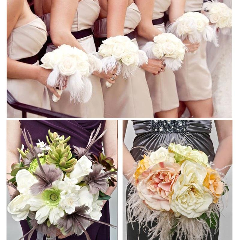 """10 PCS Natural Ostrich Feathers """"12-14"""" Inch 5 colors Wedding Party Dinner use"""