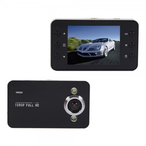 K6000 2-LED Wide-angle Lens Car Camera Recorder with Night Vision Black
