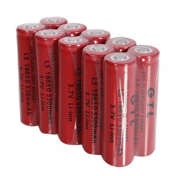 4pcs GTL 18650 3.7V 5300mAh Rechargeable Lithium Batteries Red Li-ion Battery