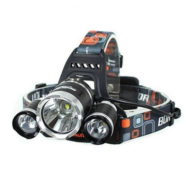 XM-L 3*T6 10W 3 Modes 5000LM White Light Headlamp Black