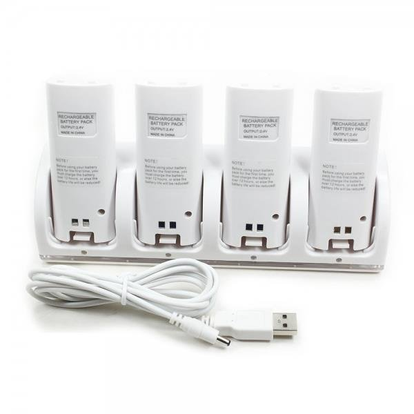 Charging Dock Stand with 4 Battery for Wii Remote Controller White