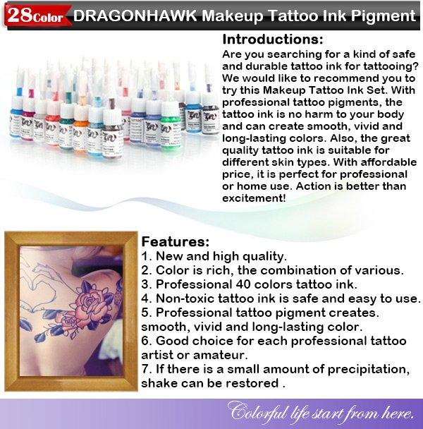 Professional 28 Color DRAGONHAWK Makeup Tattoo Ink Pigment 5ML Set