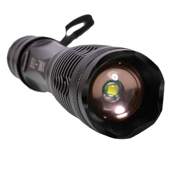 E6 XML T6 1800LM 10W 5 Modes Focus Flashlight Torch Black