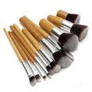 New 11Pcs Fiber Nylon Bamboo Handle Makeup Brush Set Kits for Cosmetic with Bag