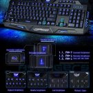 3 Colors Illuminated LED Backlight USB Wired Gaming Crack Keyboard for PC Black