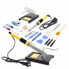 18in1 110V 60W Soldering Iron Tools Kit with Tin Wire Iron Stand Desolder Pump