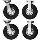 4 PCS Air Tire Pneumatic 2 Rigid Wheels & 2 Swivel Casters Cart Farm Caster 10""