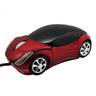 Car Designed USB 2.0 PC 3D Optical Wheel Scroll Mouse Wired - Black/Red
