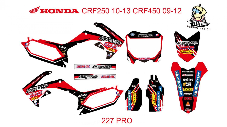 HONDA CRF250 2010-2013 CRF450 2009-2012 GRAPHIC DECAL KIT CODE.227