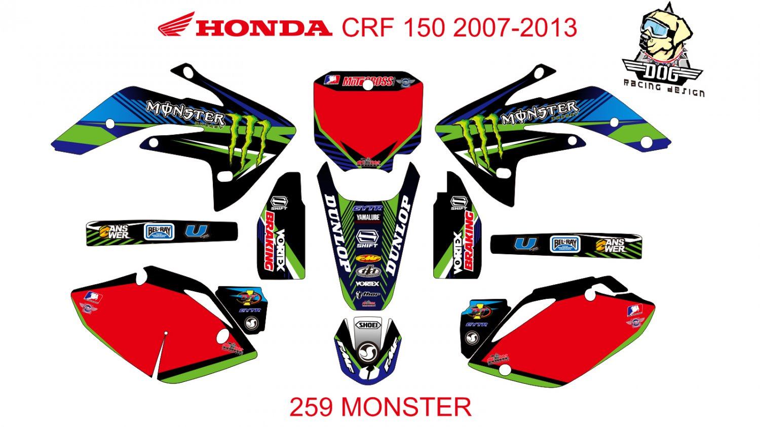 HONDA CRF 150 2007-2013 GRAPHIC DECAL KIT CODE.259