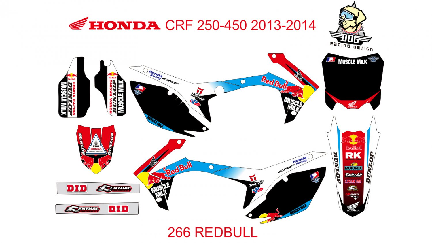 HONDA CRF 250-450 2013-2014 GRAPHIC DECAL KIT CODE.266