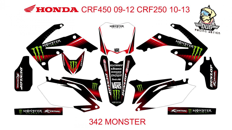 HONDA CRF250 2010-2013 CRF450 2009-2012 GRAPHIC DECAL KIT CODE.342
