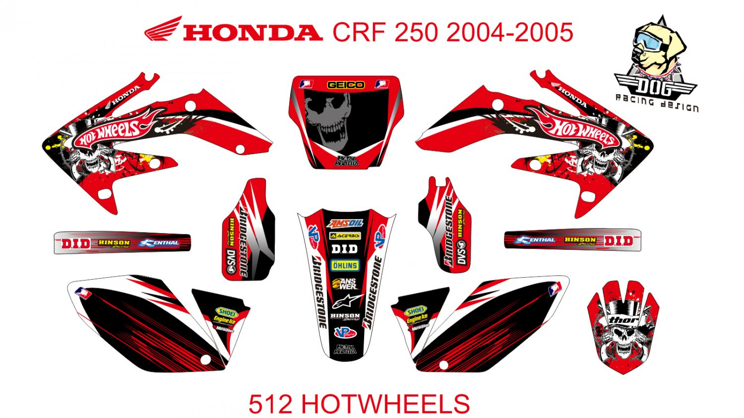 HONDA CRF 250 2004-2005 GRAPHIC DECAL KIT CODE.512