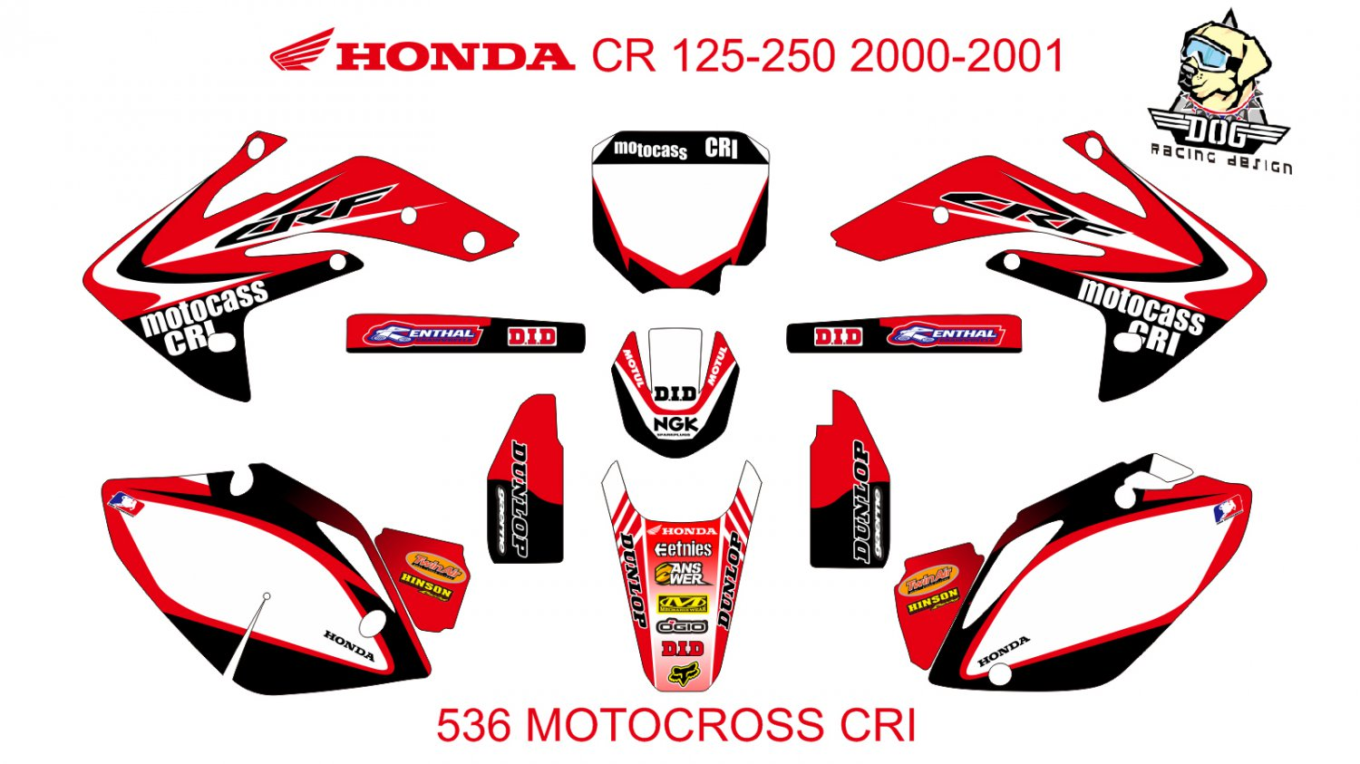 HONDA CR 125-250 2000-2001 GRAPHIC DECAL KIT CODE.536
