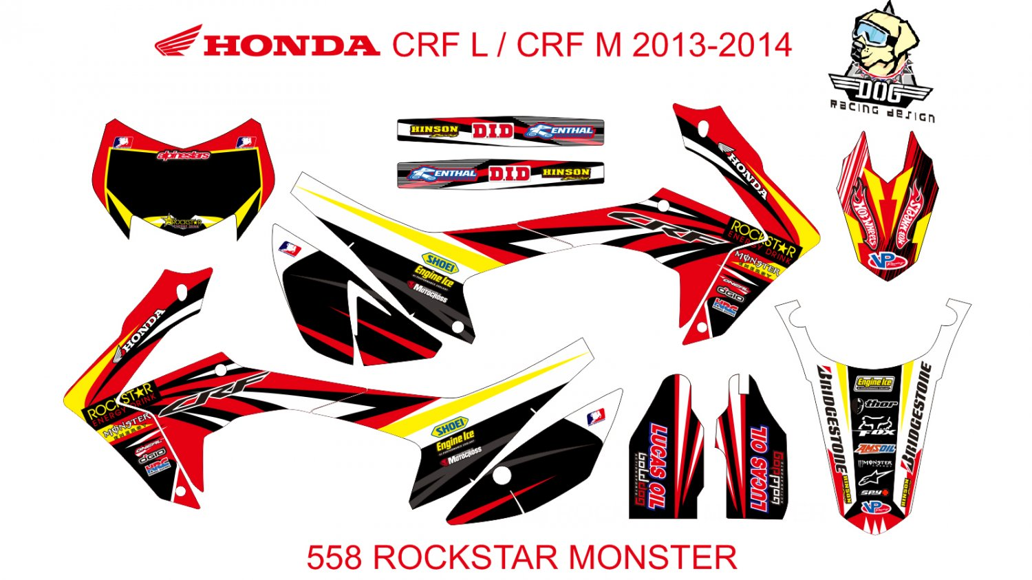 HONDA CRF L CRF M 2013-2014 GRAPHIC DECAL KIT CODE.558