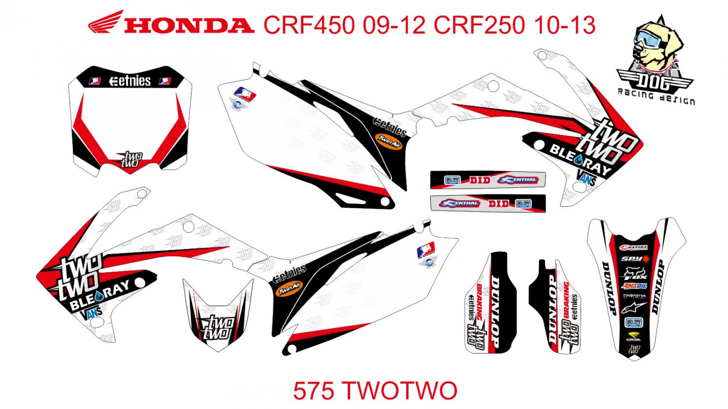HONDA CRF 250 2010-2013 CRF 450 2009-2012 GRAPHIC DECAL KIT CODE.575
