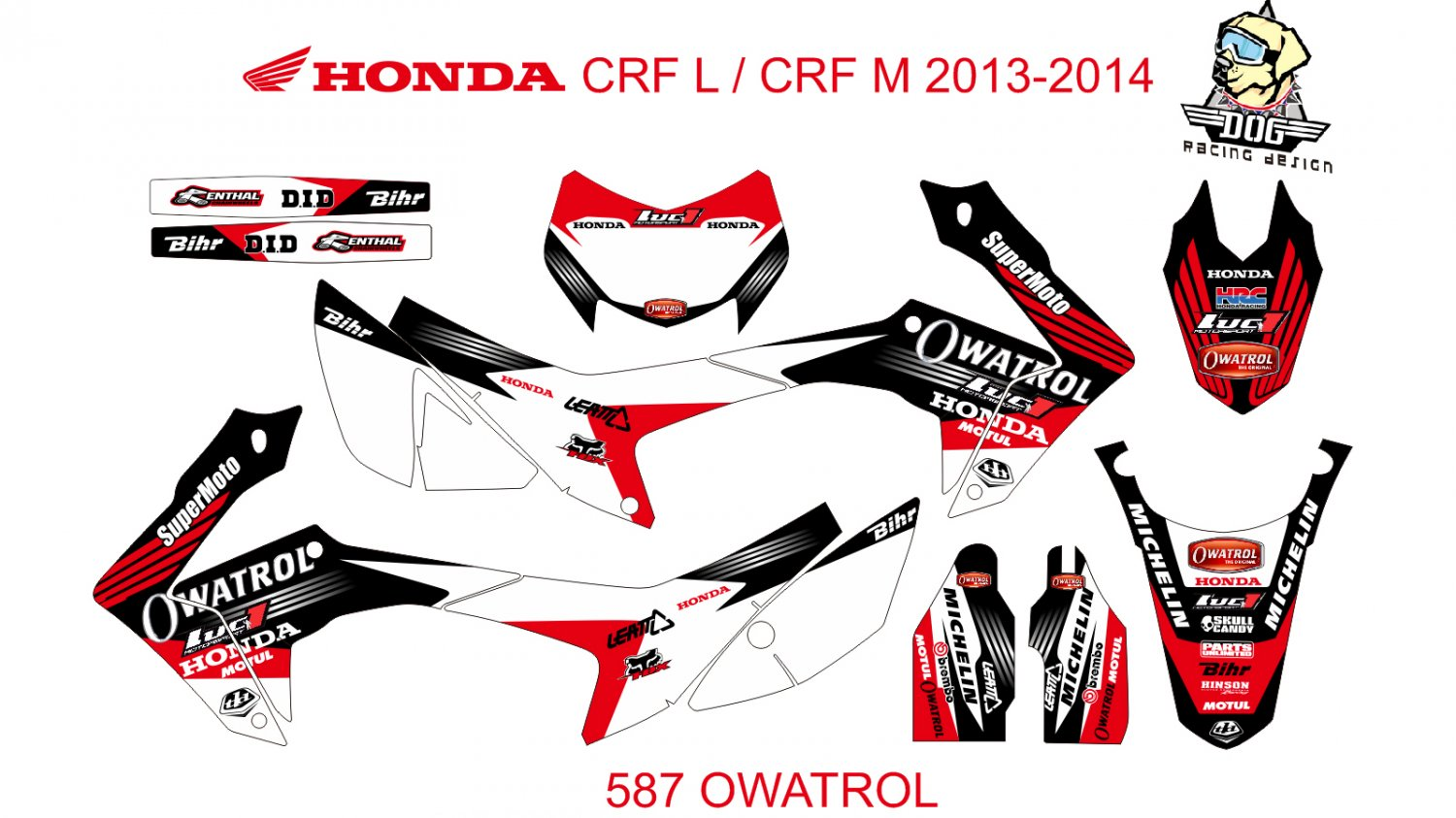 HONDA CRF L CRF M 2013-2014 GRAPHIC DECAL KIT CODE.587