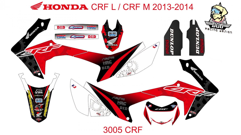 HONDA CRF L CRF M 2013-2014 GRAPHIC DECAL KIT CODE.3005