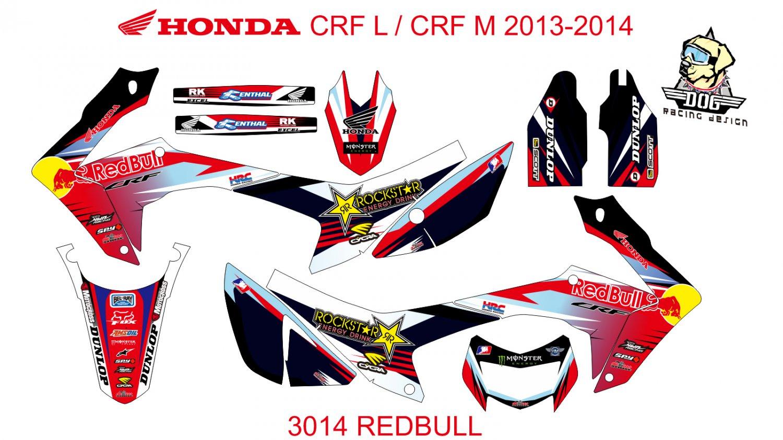 HONDA CRF L CRF M 2013-2014 GRAPHIC DECAL KIT CODE.3014