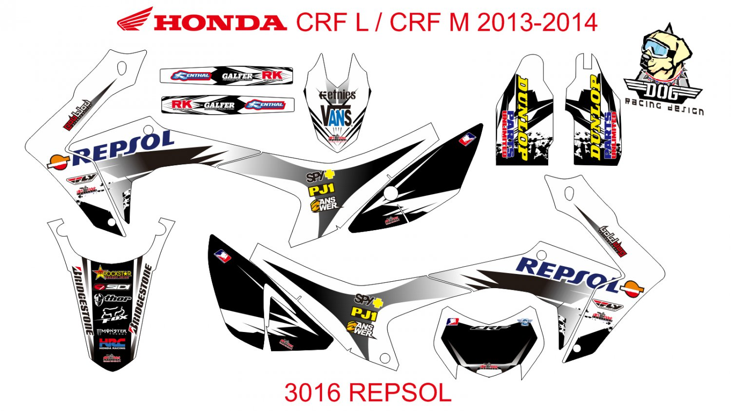 HONDA CRF L CRF M 2013-2014 GRAPHIC DECAL KIT CODE.3016