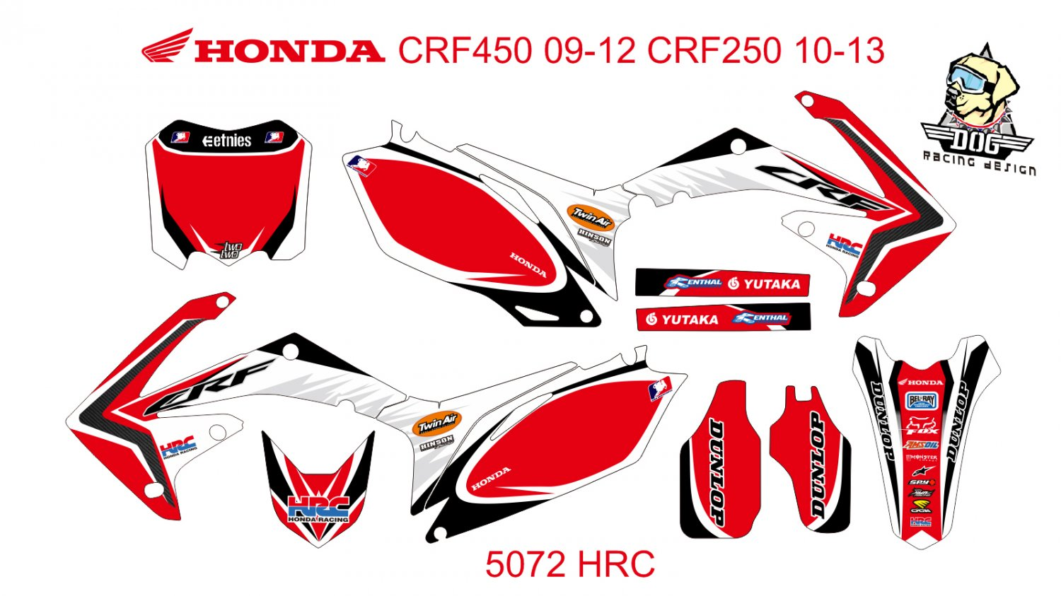 HONDA CRF 450 2009-2012 CRF 250 2010-2013 GRAPHIC DECAL KIT CODE.5072