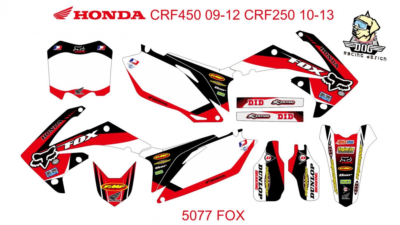 HONDA CRF 450 2009-2012 CRF 250 2010-2013 GRAPHIC DECAL KIT CODE.5077
