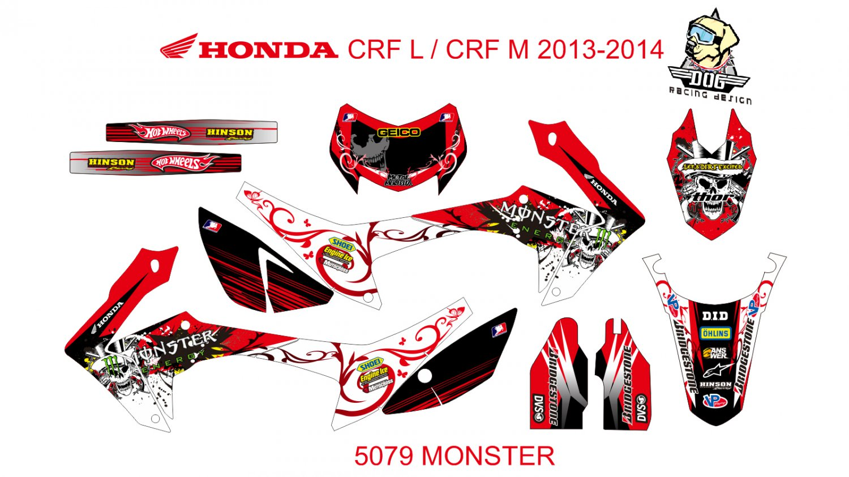 HONDA CRF L CRF M 2013-2014 GRAPHIC DECAL KIT CODE.5079