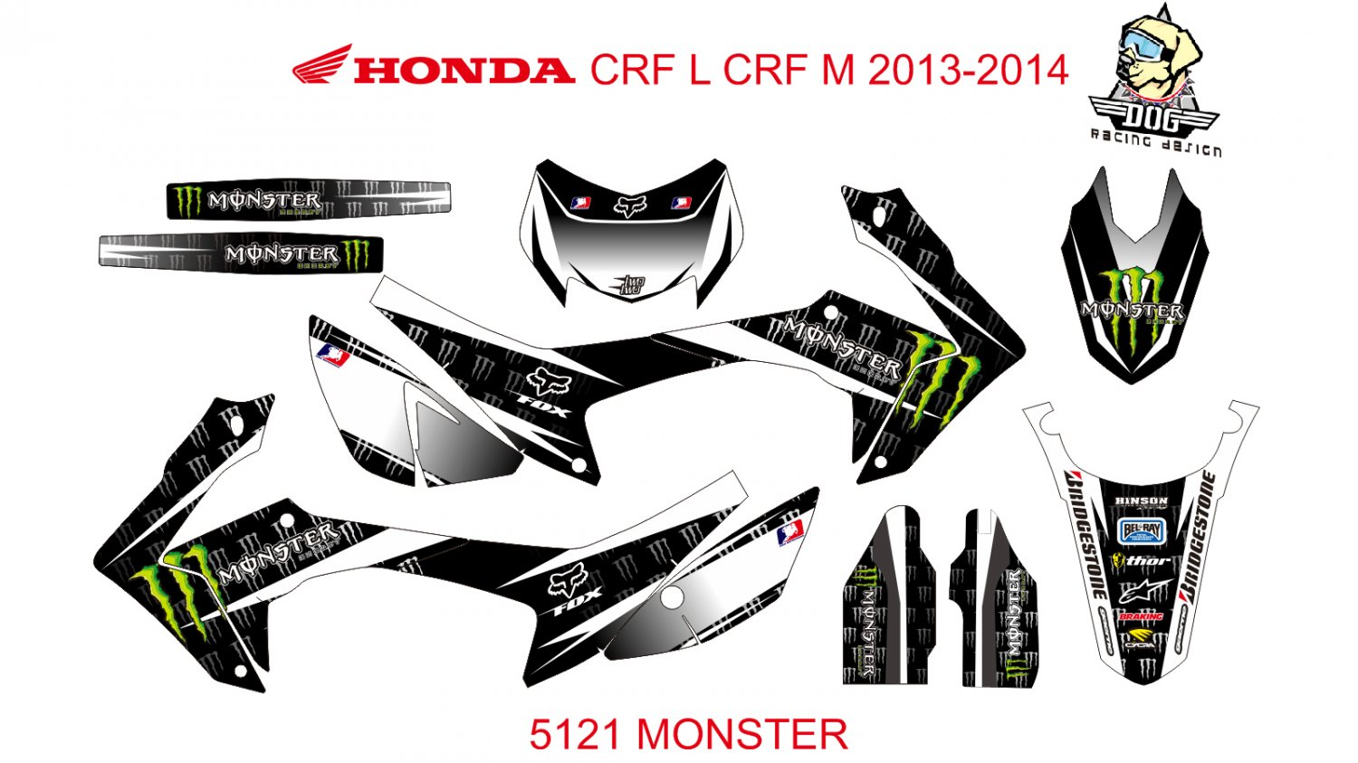 HONDA CRF L CRF M 2013-2014 GRAPHIC DECAL KIT CODE.5121