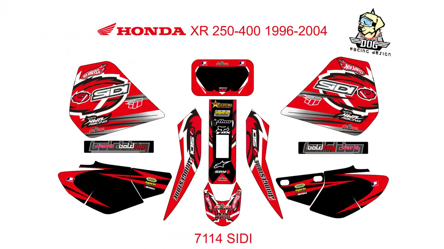 HONDA XR 250-400 1996-2004 GRAPHIC DECAL KIT CODE.7114