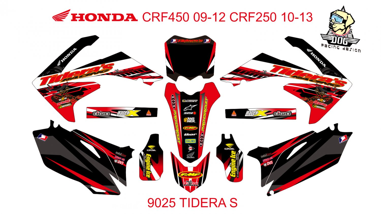 HONDA CRF 450 2009-2012 CRF 250 2010-2013 DECAL KIT CODE.9025