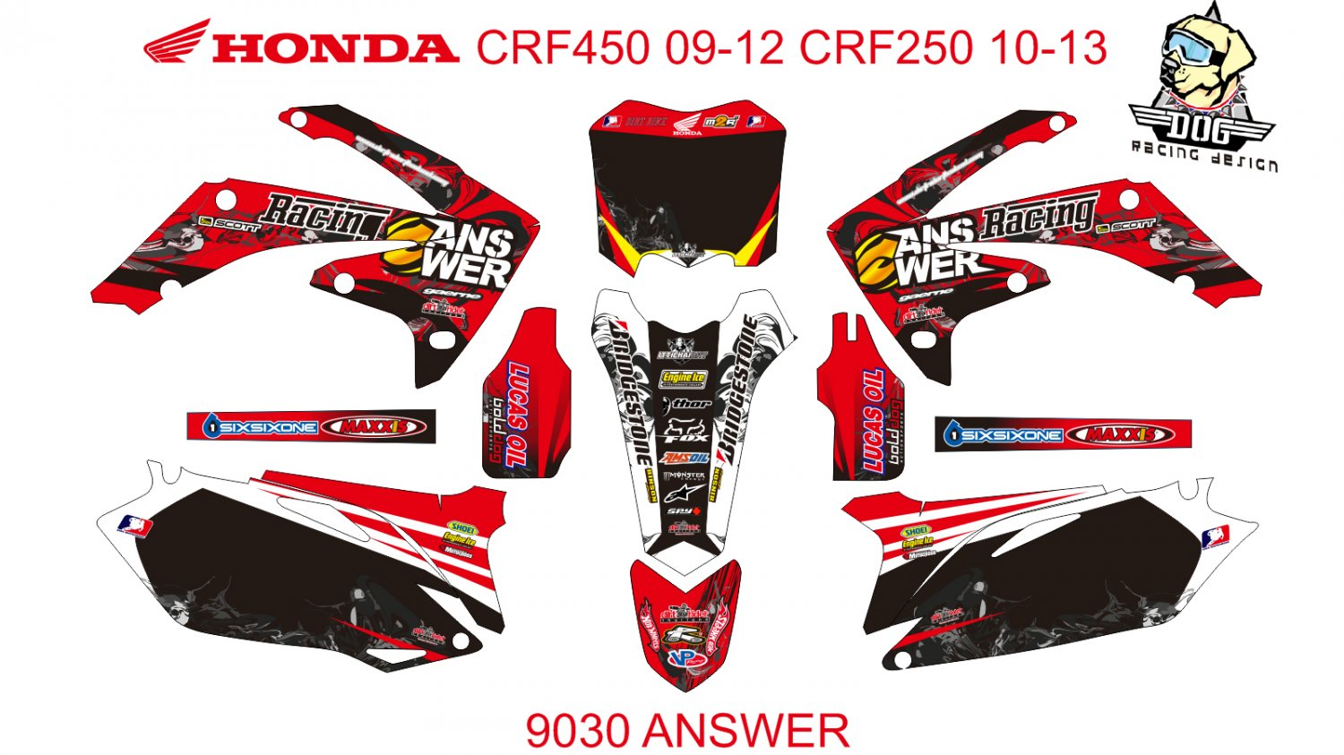 HONDA CRF 450 2009-2012 CRF 250 2010-2013 DECAL KIT CODE.9030