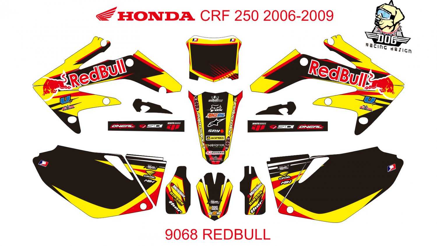 HONDA CRF 250 2006-2009 GRAPHIC DECAL KIT CODE.9068