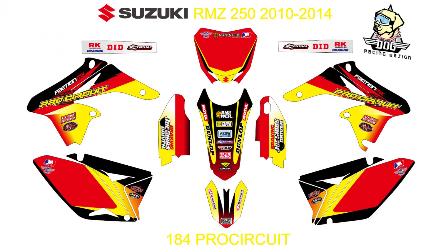 SUZUKI RMZ 250 2010-2014 GRAPHIC DECAL KIT CODE.184