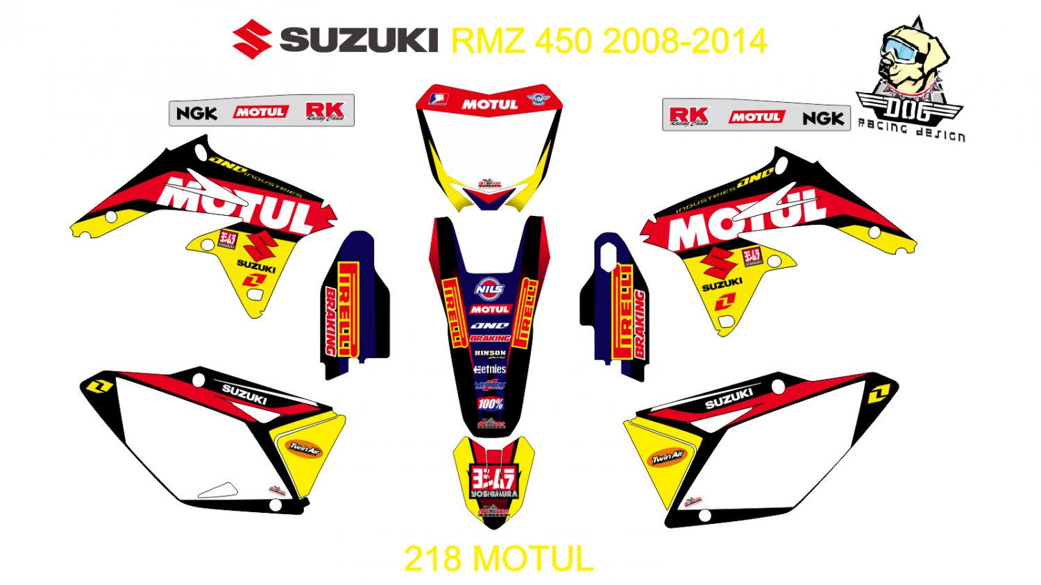 SUZUKI RMZ 250 2010-2014 GRAPHIC DECAL KIT CODE.218