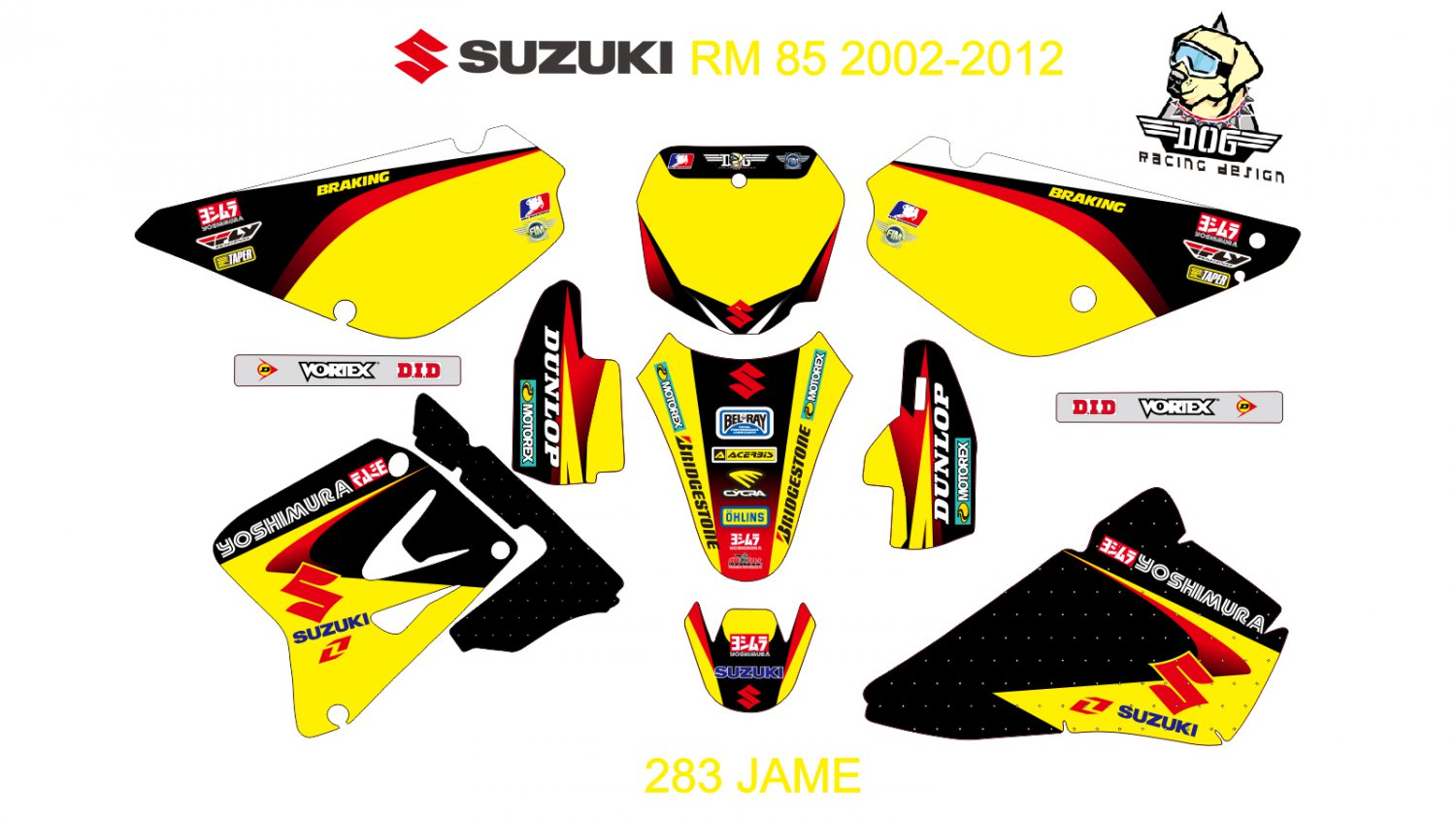 SUZUKI RM 85 2002-2012 GRAPHIC DECAL KIT CODE.283