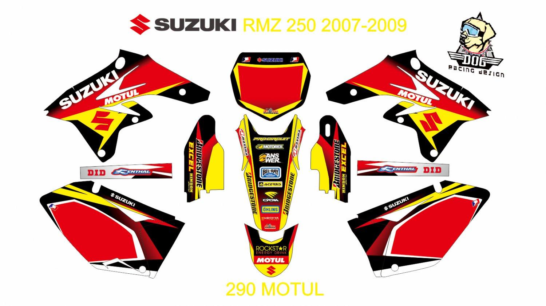SUZUKI RMZ 250 2007-2009 GRAPHIC DECAL KIT CODE.290