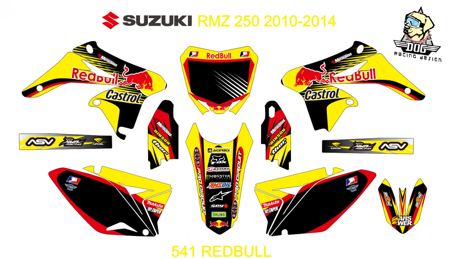 SUZUKI RMZ 250 2010-2014 GRAPHIC DECAL KIT CODE.541