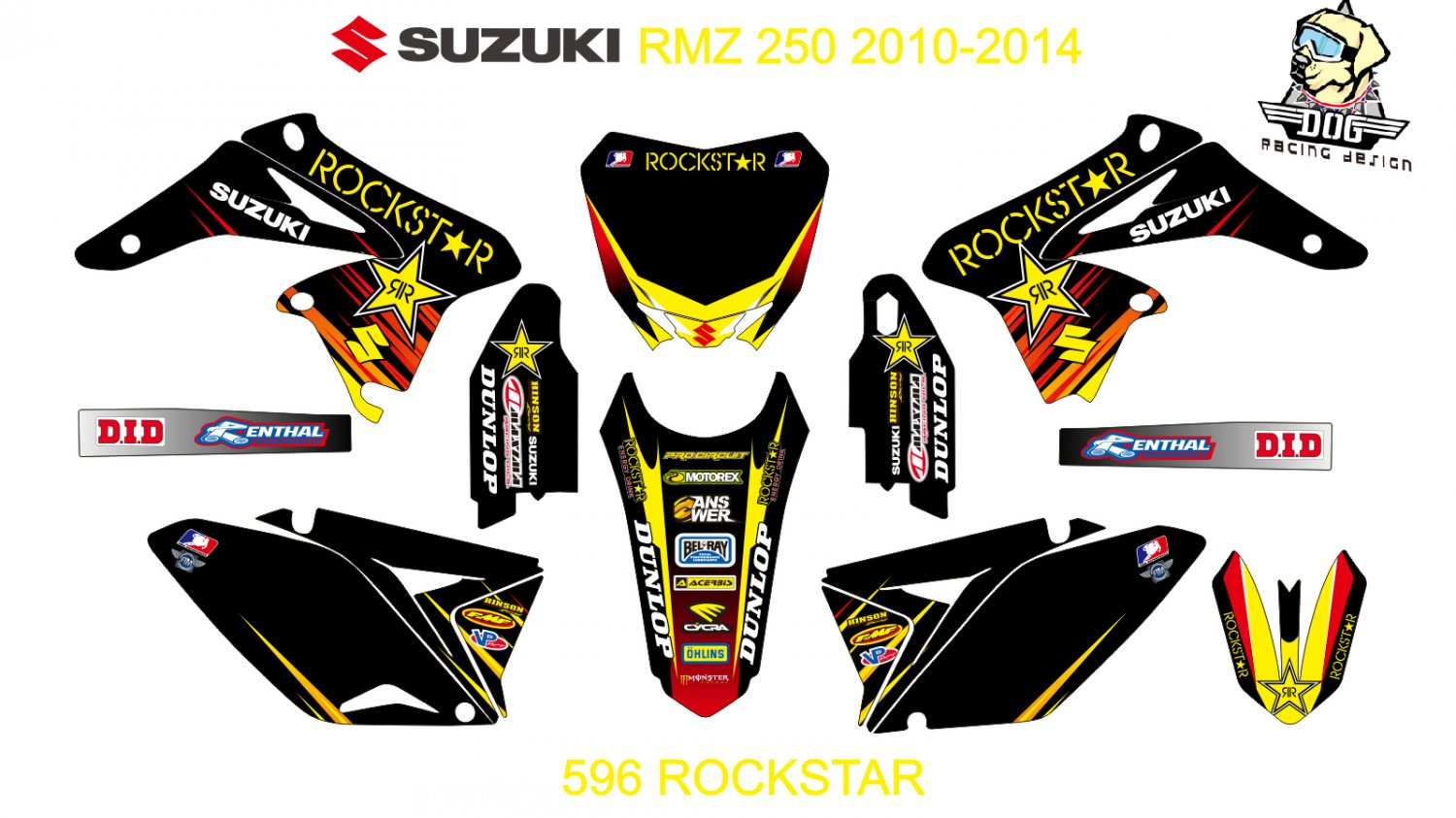 SUZUKI RMZ 250 2010-2014 GRAPHIC DECAL KIT CODE.596