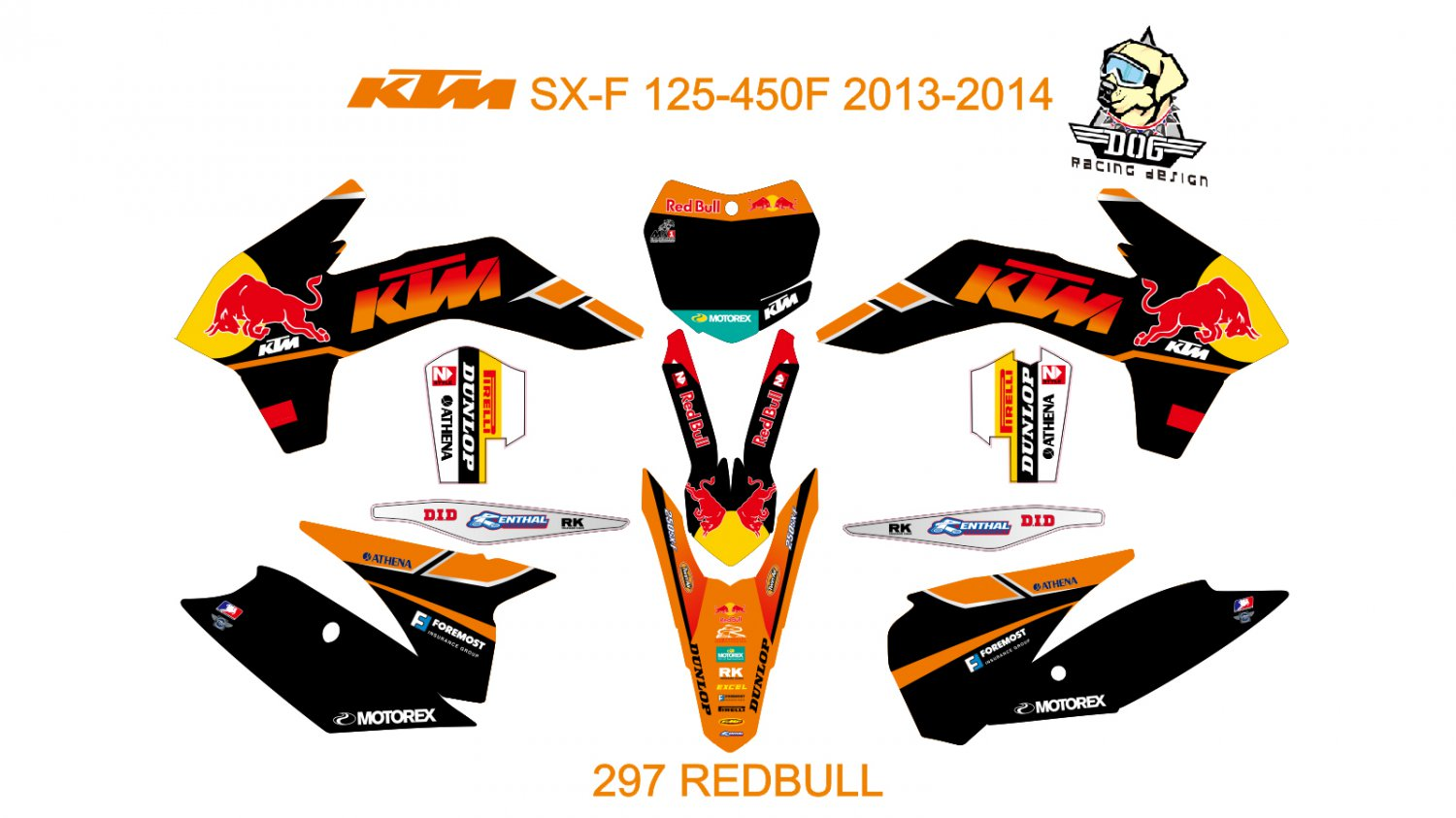 KTM SX-F 125-450F 2013-2014 GRAPHIC DECAL KIT CODE.297