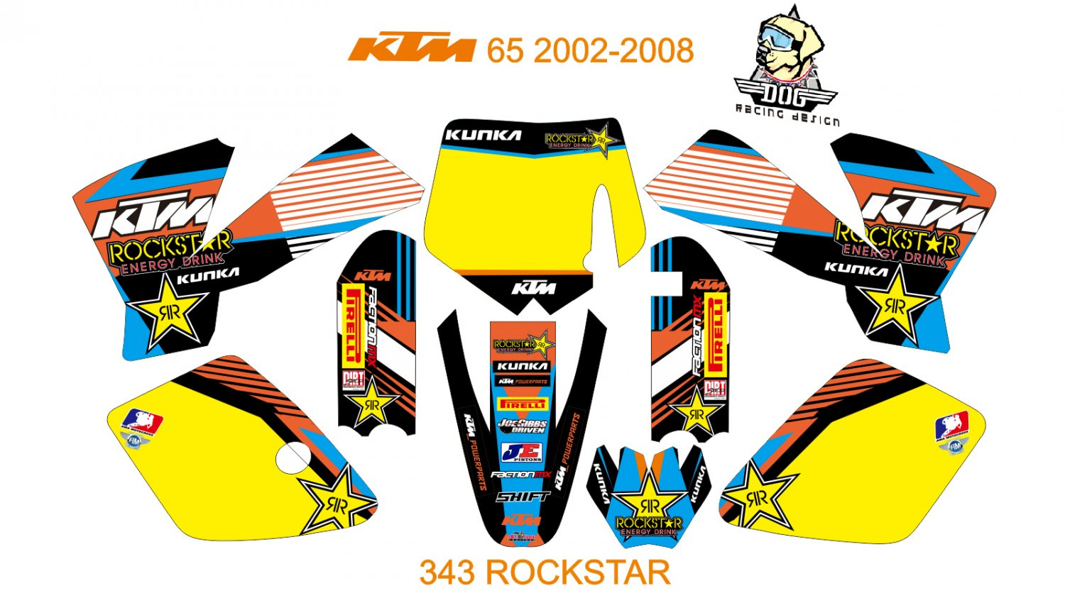 KTM 65 2002-2008 GRAPHIC DECAL KIT CODE.343