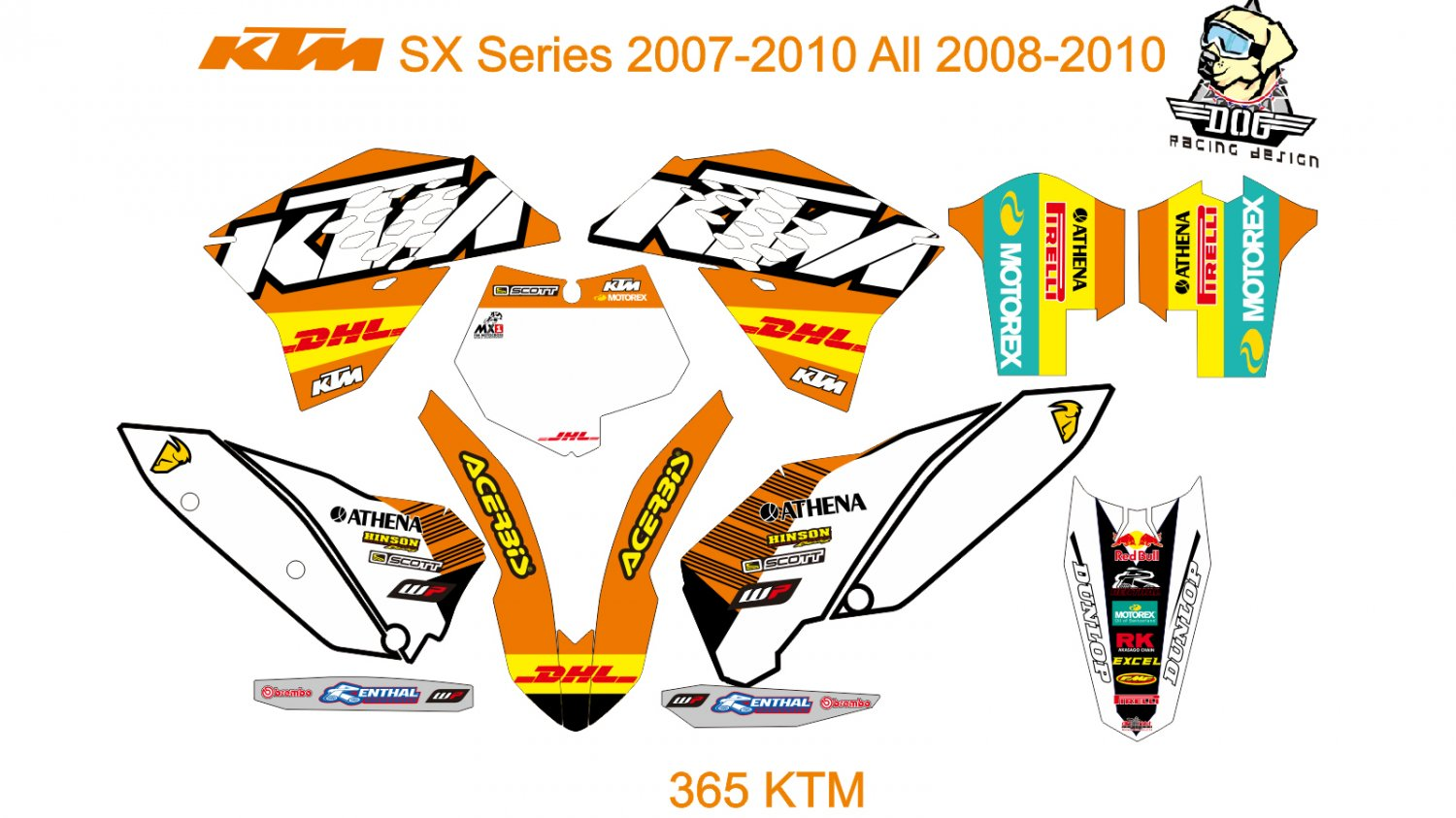 KTM SX Series 2007-2010 All 2008-2010 GRAPHIC DECAL KIT CODE.365