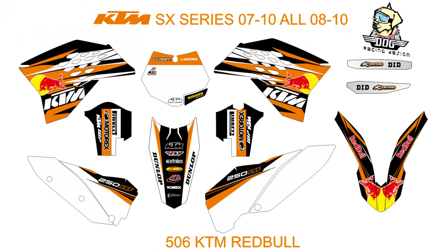 KTM SX SERIES 2007-2010 ALL 2008-2010 GRAPHIC DECAL KIT CODE.506