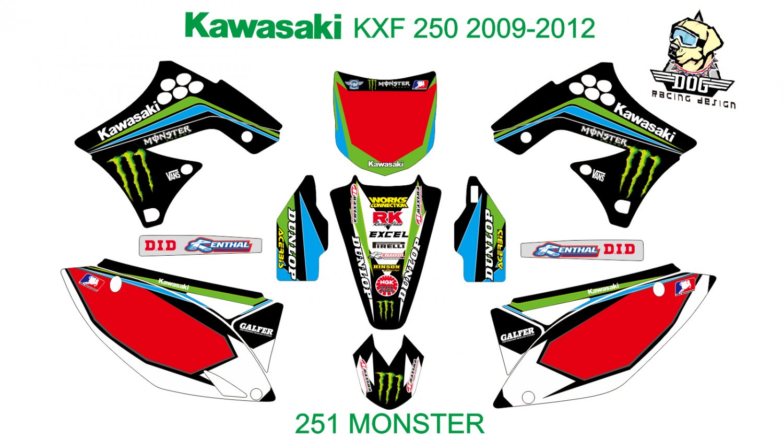 KAWASAKI KXF 250 2009-2012 GRAPHIC DECAL KIT CODE.251