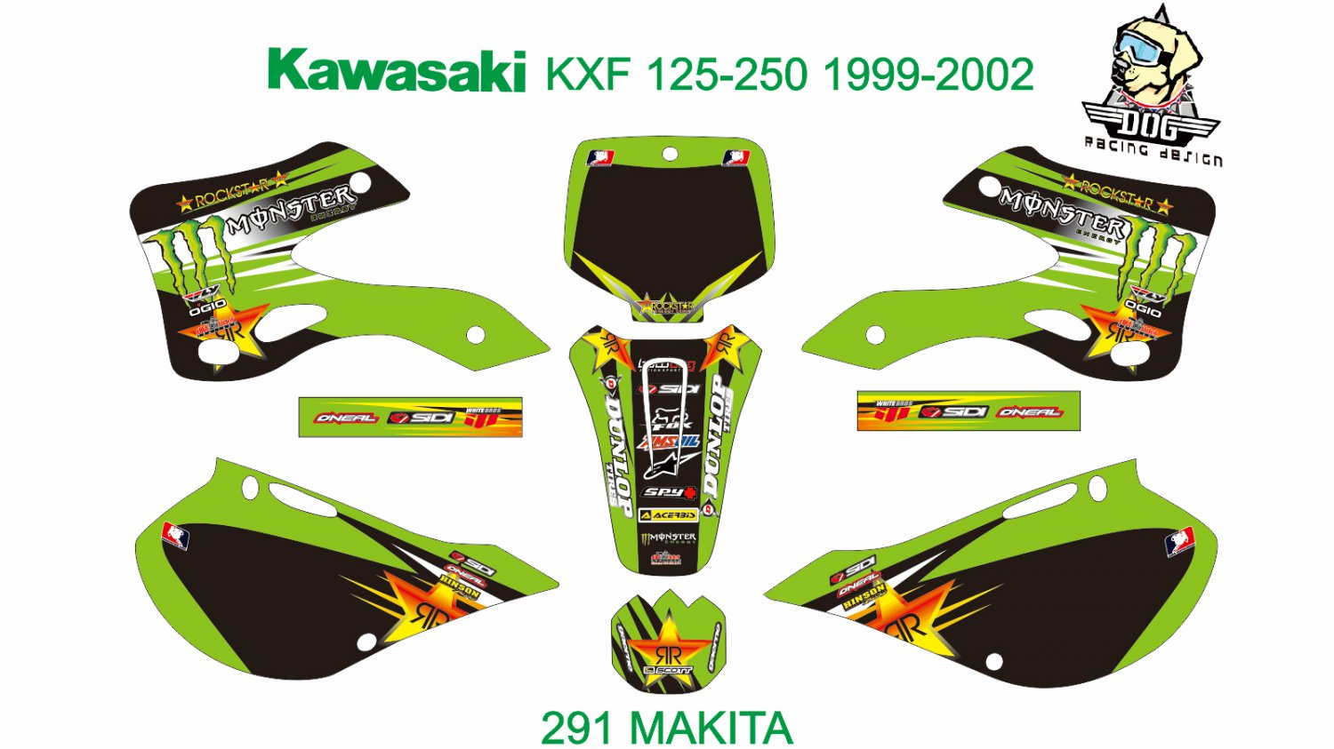 KAWASAKI KX 125-250 1999-2002 GRAPHIC DECAL KIT CODE.291