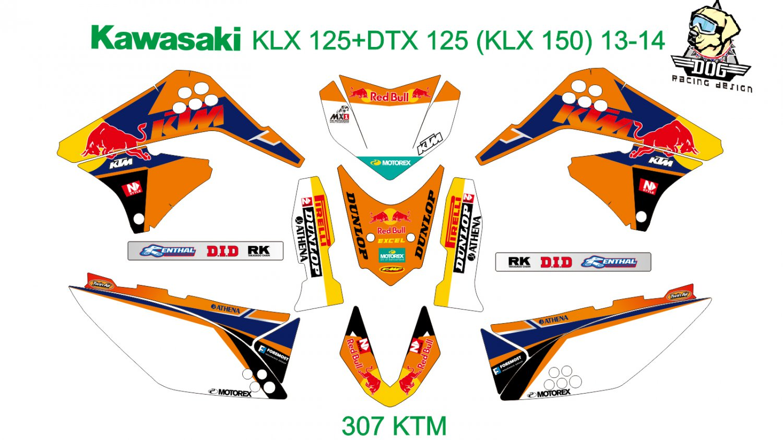KAWASAKI KLX 125+DTX 125 (KLX 150) 2013-2014 GRAPHIC DECAL KIT CODE.307