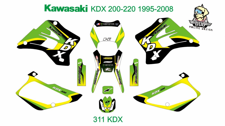 KAWASAKI KDX 200-220 1995-2008 GRAPHIC DECAL KIT CODE.311