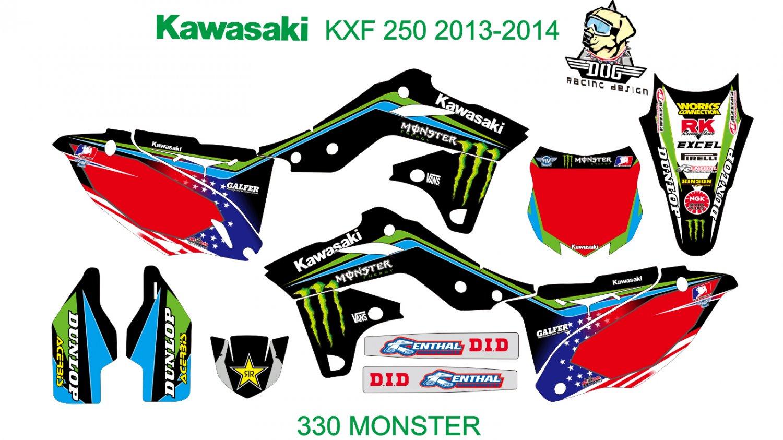 KAWASAKI KXF 250 2013-2014 GRAPHIC DECAL KIT CODE.330